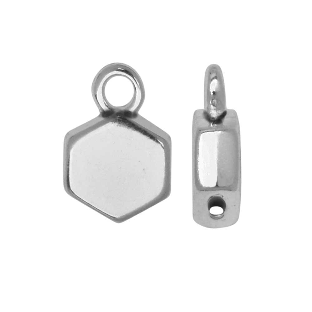 Cymbal Bead Substitute for Honeycomb Beads, Maragas, Hexagon, Loop 6mm, 4 Pc, Antiqued Silver Plated