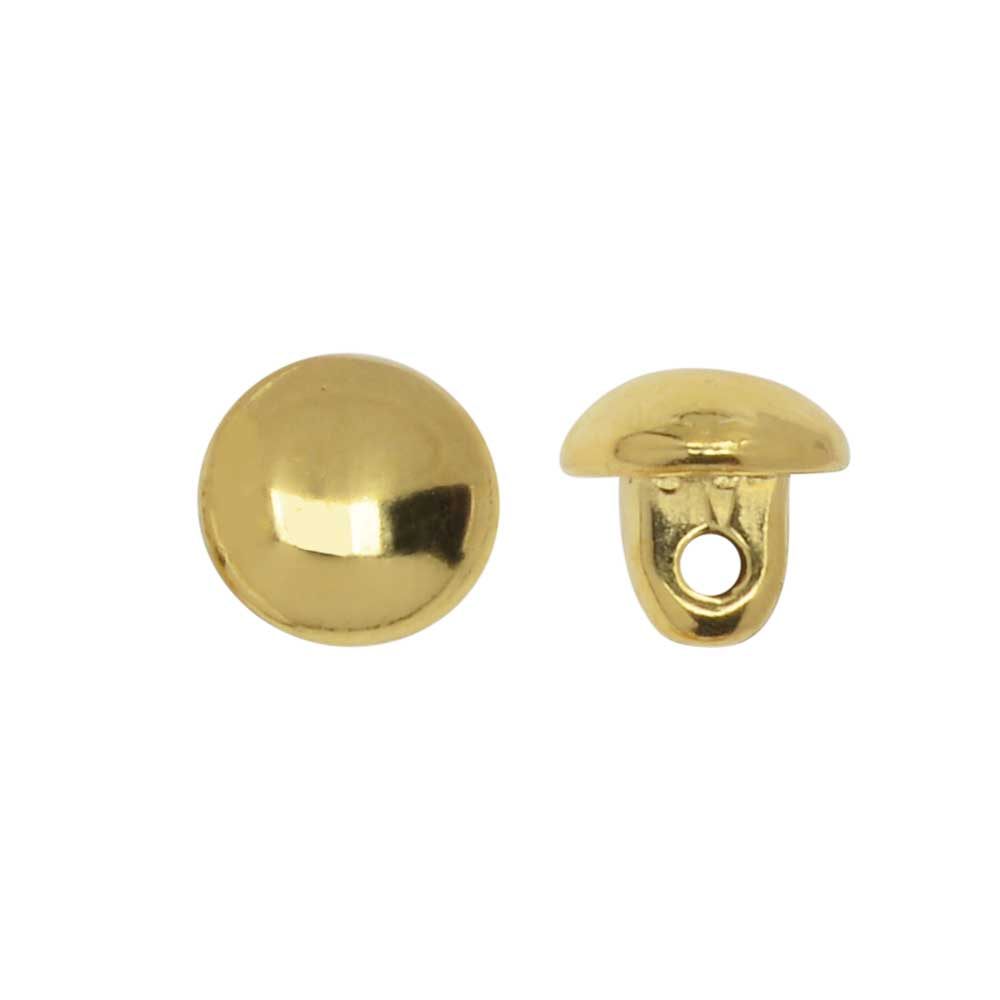 Final Sale - Cymbal Bead Substitute for 8/0 Round Beads, Kymo, Round Stud with Shank, 4 Pieces, 24K Gold Plated