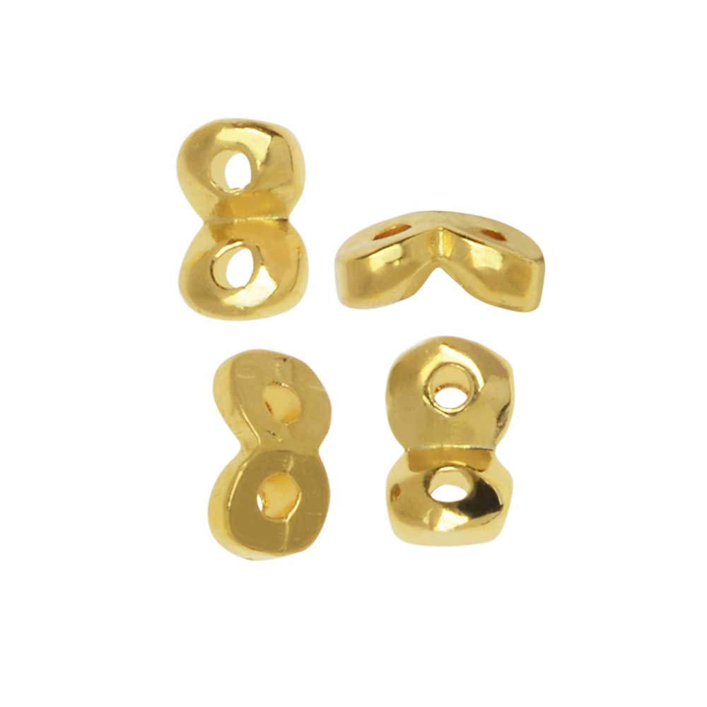 Cymbal Side Bead for SuperDuo Beads, Kaparia, 2-Hole 5.5x2mm, 24 Pieces, 24K Gold Plated