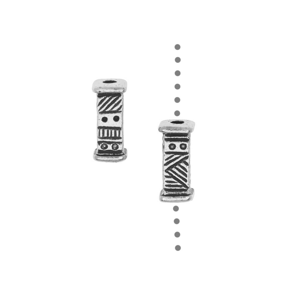 TierraCast Pewter Beads, Short Ethnic Design 9.5x4mm, 2 Pieces, Antiqued Silver Plated