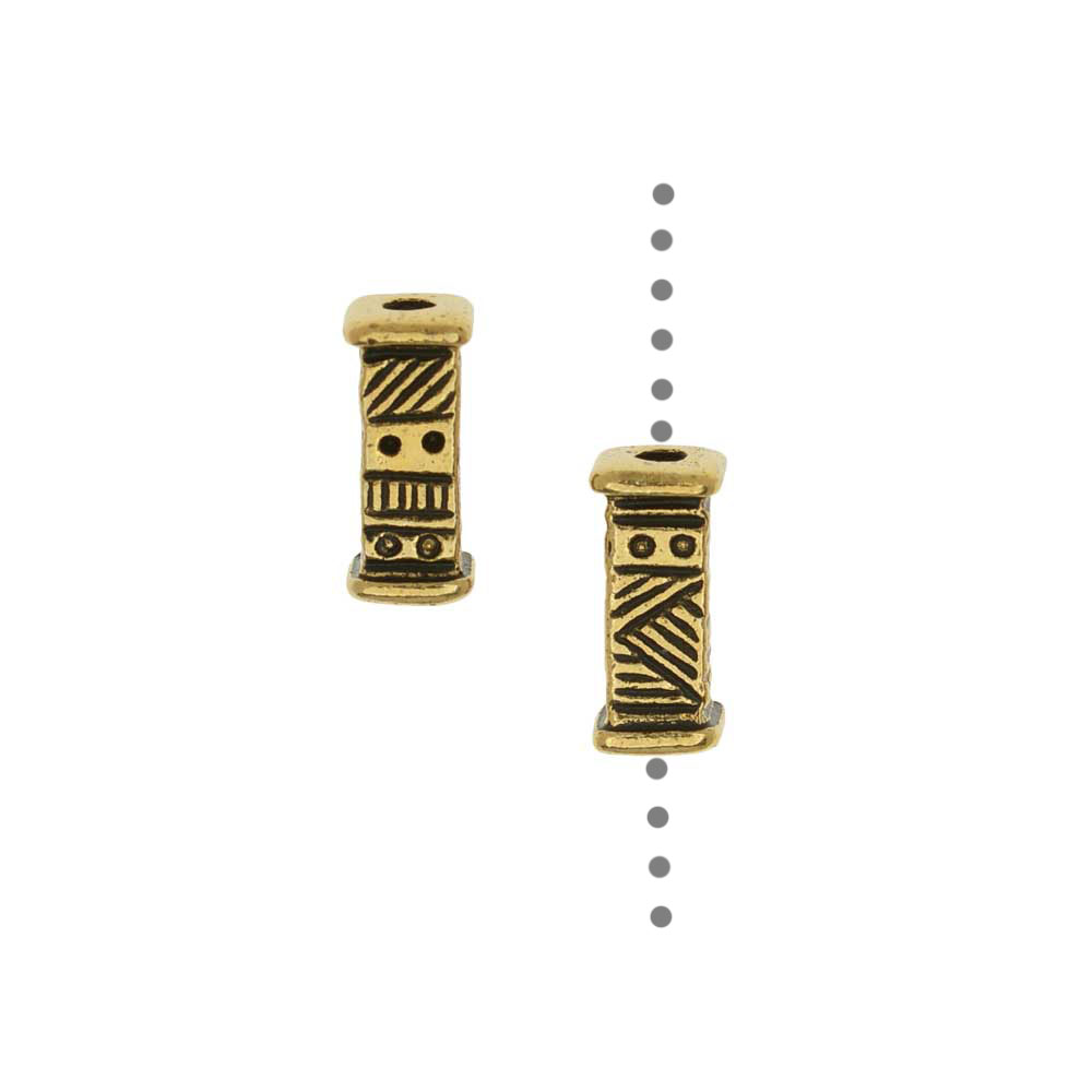 TierraCast Pewter Beads, Short Ethnic Design 9.5x4mm, 2 Pieces, Antiqued Gold Plated
