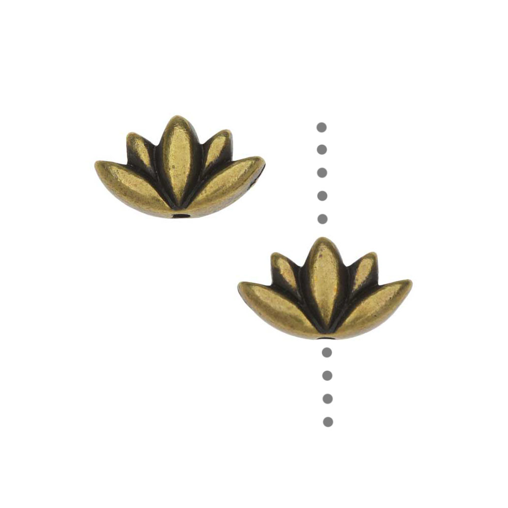 TierraCast Pewter Beads, Lotus Flower Design 7x11.5mm, 2 Pieces, Brass Oxide Finish