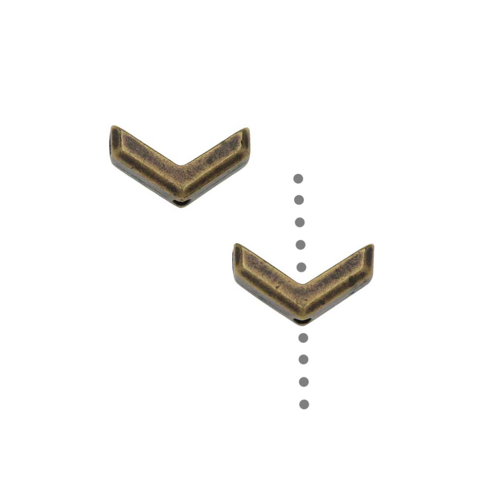 TierraCast Pewter Beads, Faceted Chevron Design 5.5x10mm, 2 Pieces, Brass Oxide Finish