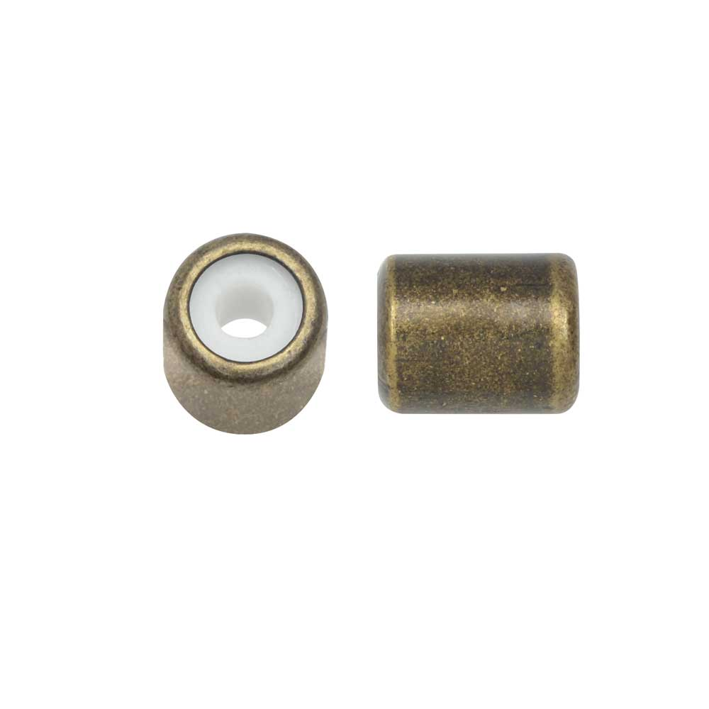 Adjustable Slider Clasp, Tube with Silicone Center 5.5x6.8mm, 4 Pieces, Antiqued Brass Tone