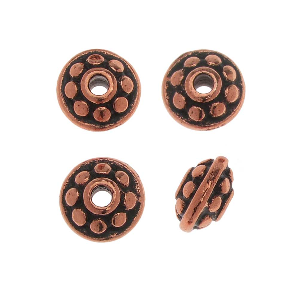 TierraCast Pewter Bead, Beaded Spacer 7mm, 4 Pieces, Antiqued Copper Plated