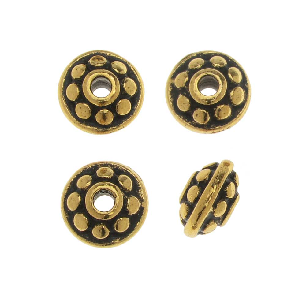 TierraCast Pewter Bead, Beaded Spacer 7mm, 4 Pieces, Antiqued Gold Plated