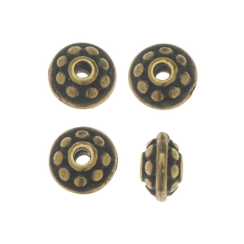 TierraCast Pewter Bead, Beaded Spacer 7mm, 4 Pieces, Brass Oxide