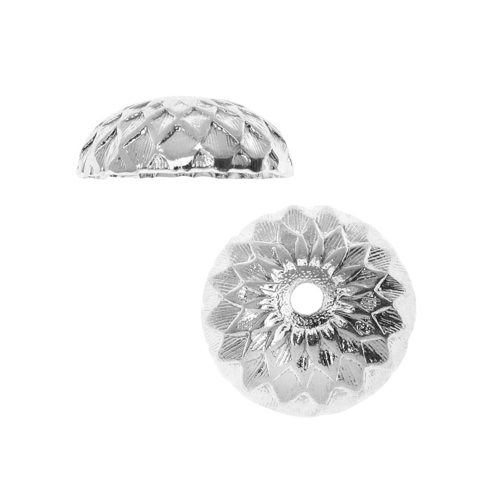 Nunn Design Bead Caps, Acorn 11.5mm, 2 Pieces, Bright Silver
