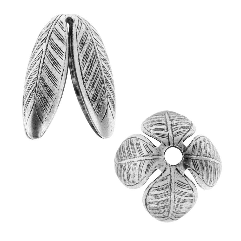 Nunn Design Bead Caps, Grande Leaf 14mm, 2 Pieces, Antiqued Silver