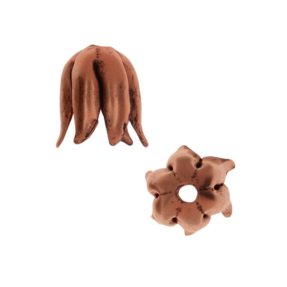 Nunn Design Bead Caps, Curled Petal 8mm, 2 Pieces, Antiqued Copper
