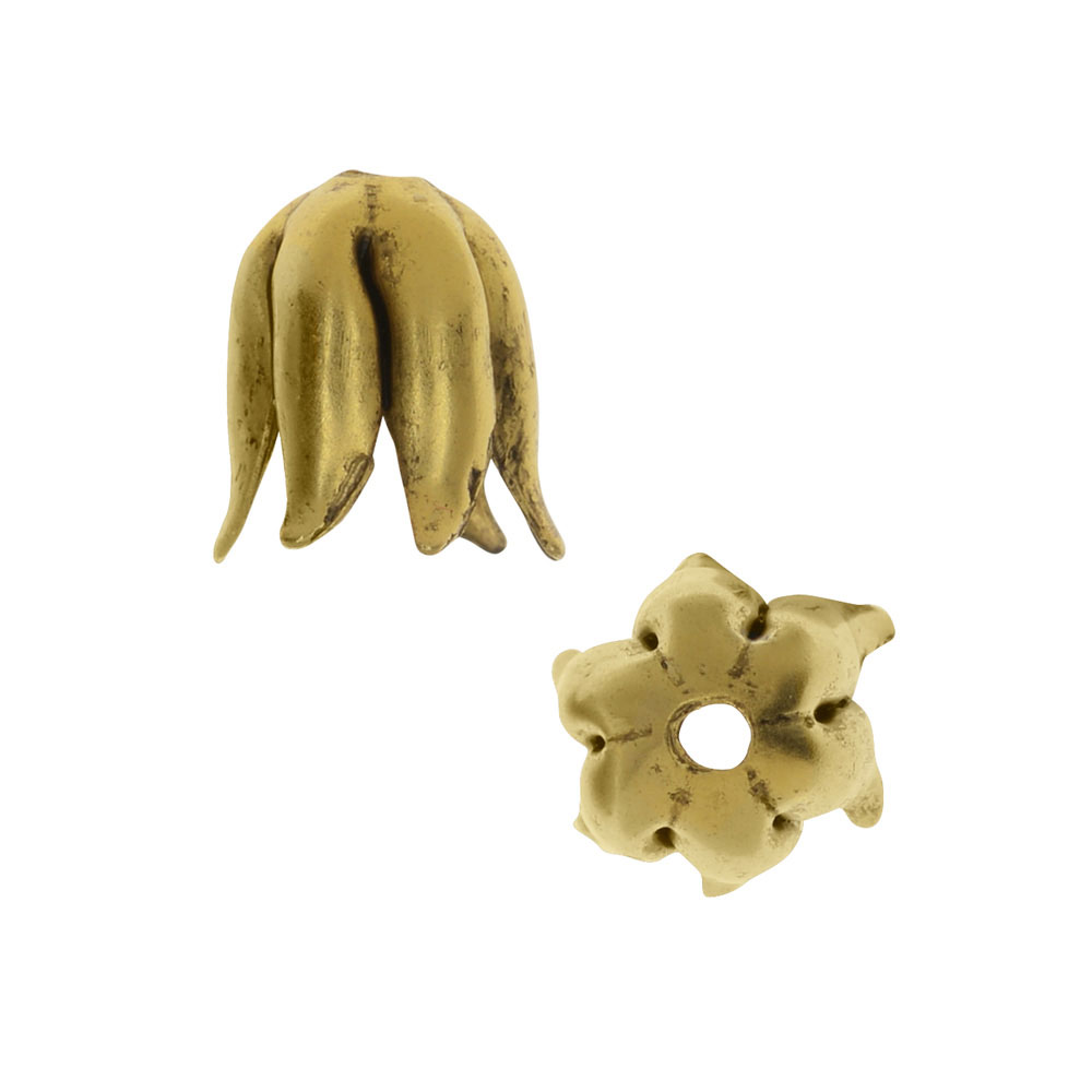 Nunn Design Bead Caps, Curled Petal 8mm, 2 Pieces, Antiqued Gold