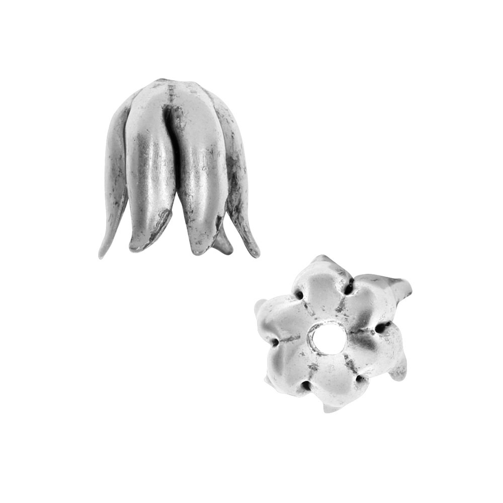 Nunn Design Bead Caps, Curled Petal 8mm, 2 Pieces, Antiqued Silver