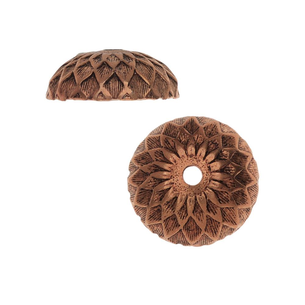 Nunn Design Bead Caps, Acorn 11.5mm, 2 Pieces, Antiqued Copper