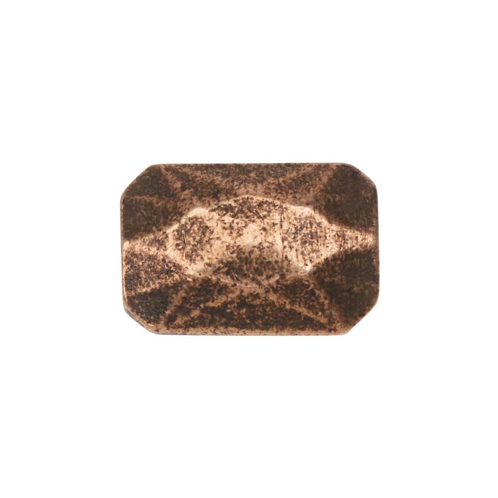 Metal Bead, Faceted Rectangle 9x13mm, Antiqued Copper, 1 Piece, by Nunn Design