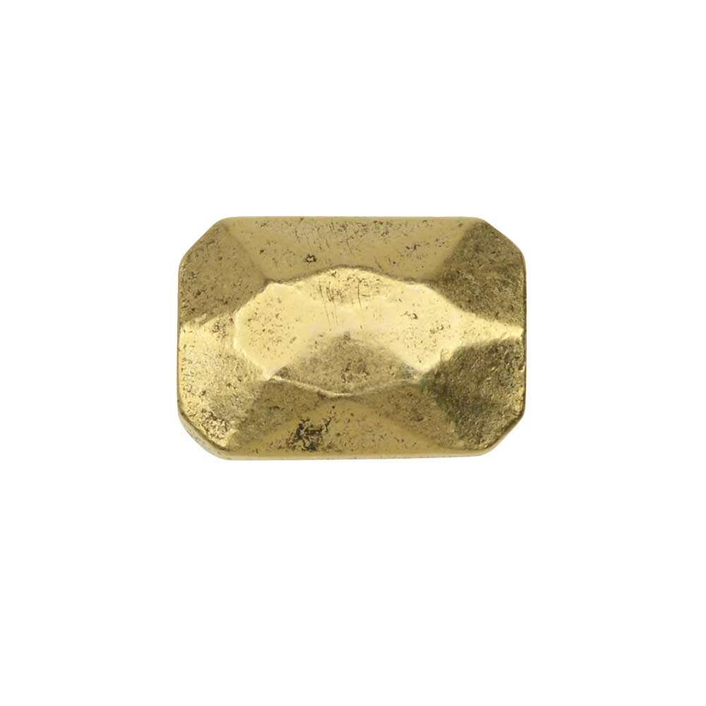 Metal Bead, Faceted Rectangle 9x13mm, Antiqued Gold, 1 Piece, by Nunn Design