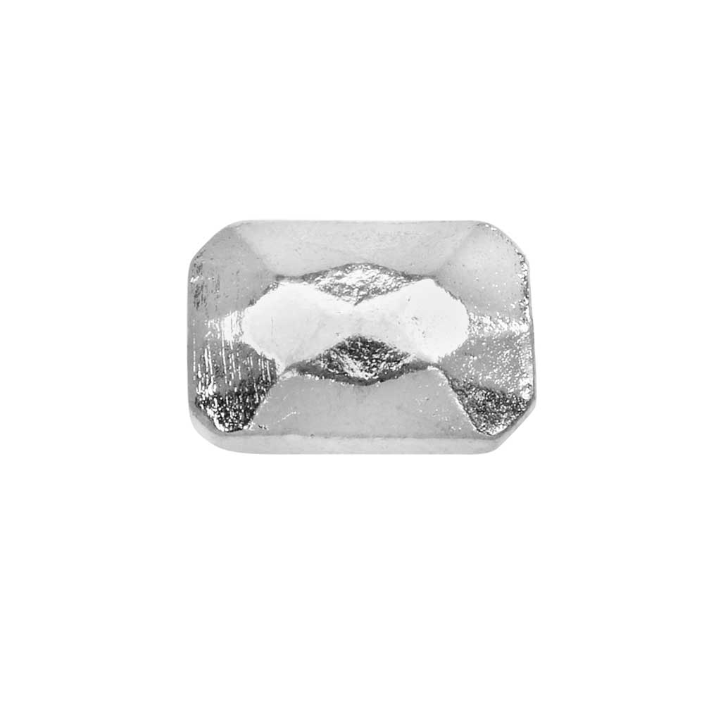 Metal Bead, Faceted Rectangle 9x13mm, Bright Silver, 1 Piece, by Nunn Design