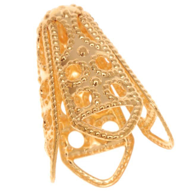 22K Gold Plated Dotted Filigree Cone Beads 16mm (10)