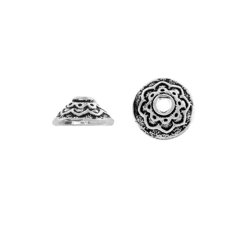TierraCast Pewter, Bead Cap with Lotus Pattern 3.5x7.5mm, 2 Pieces, Antiqued Silver Plated