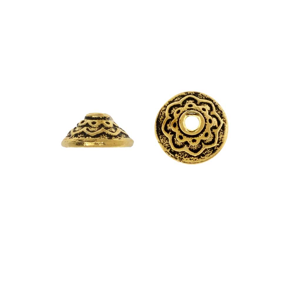 TierraCast Pewter, Bead Cap with Lotus Pattern 3.5x7.5mm, 2 Pieces, 22K Gold Plated
