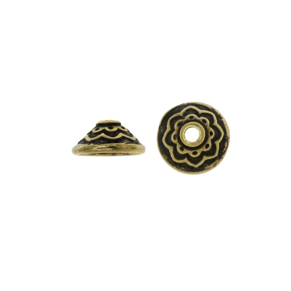 TierraCast Pewter, Bead Cap with Lotus Pattern 3.5x7.5mm, 2 Pieces, Brass Oxide