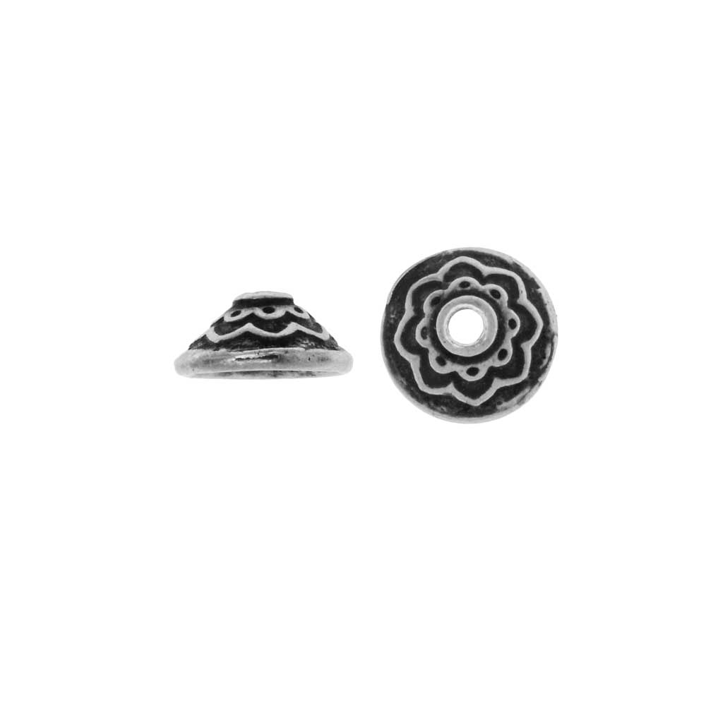 TierraCast Pewter, Bead Cap with Lotus Pattern 3.5x7.5mm, 2 Pieces, Antiqued Pewter