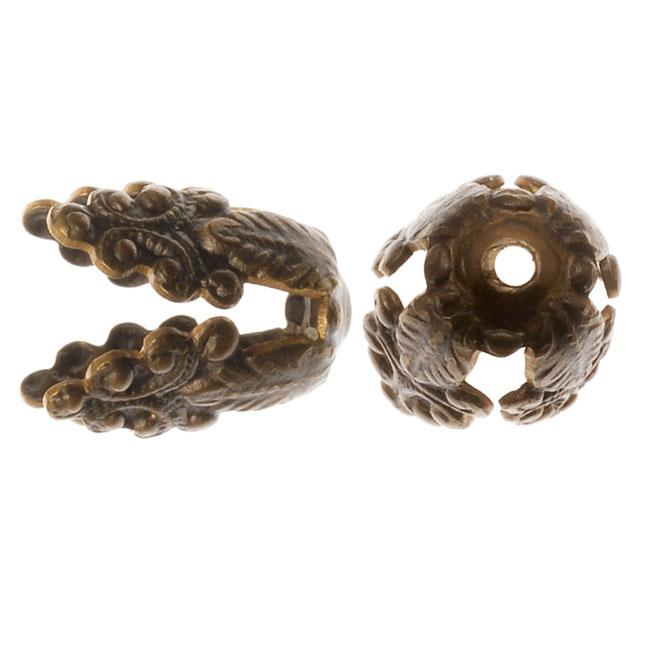 Vintaj Natural Brass Wisteria Bead Caps 10.5mm (4 Pieces)