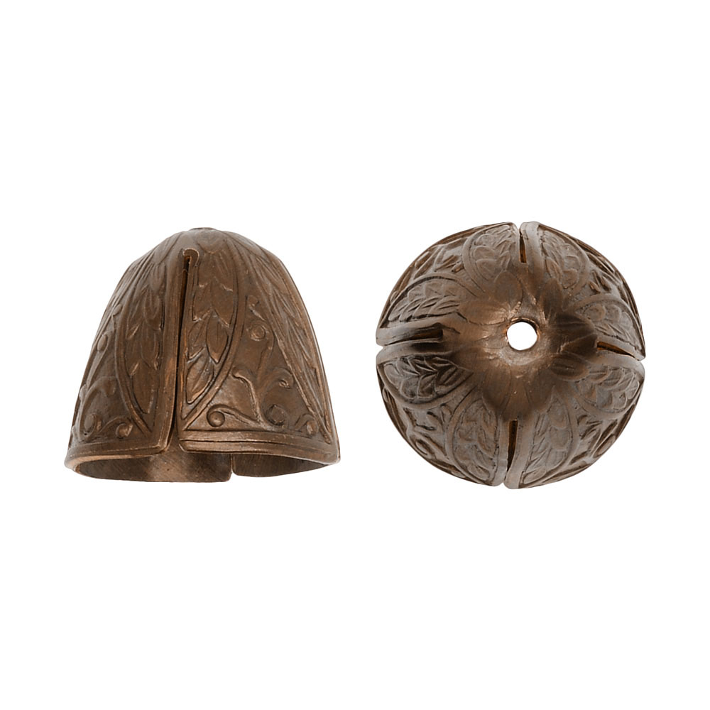 Vintaj Natural Brass, Roman Leaf Bead Cap Cone 12mm, 2 Pieces