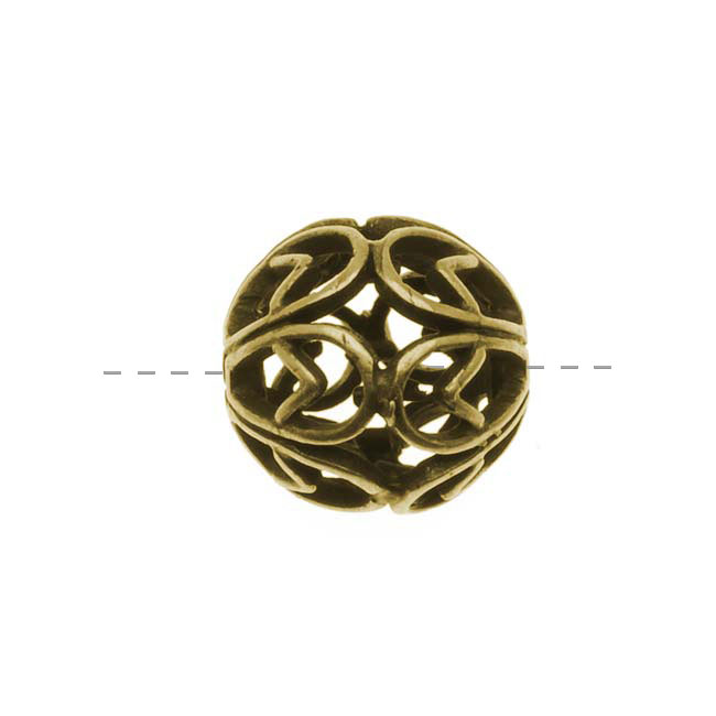 Antiqued Brass Round Filigree Spacer / Focal Bead 10mm (1)