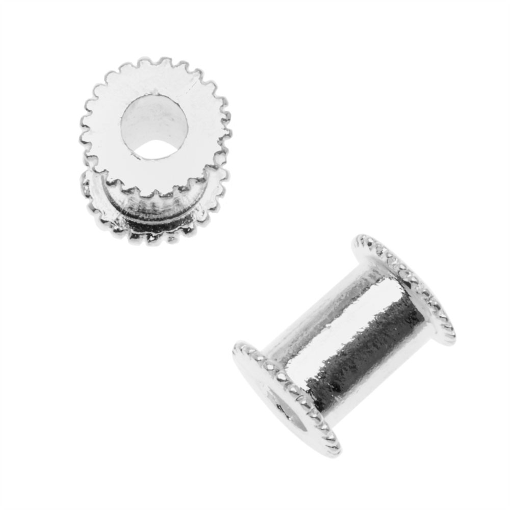 Nunn Design Silver Plated Large Hole Channel Bead Core 13mm (1 Bead)