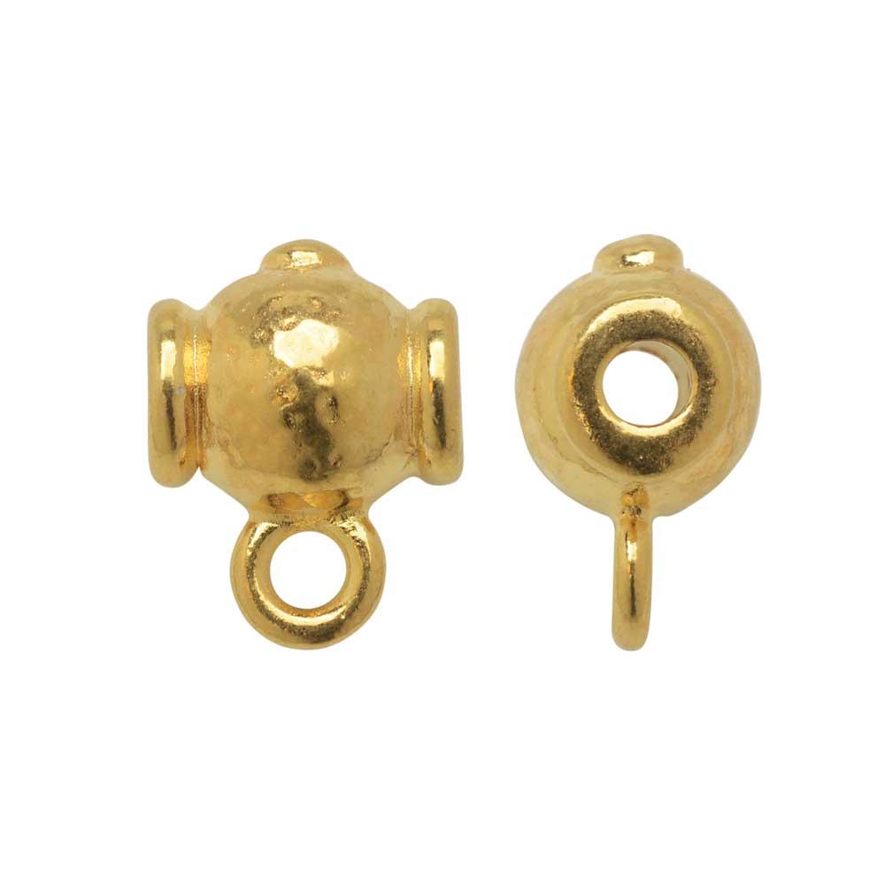 TierraCast Guru Bead, Hammered Round 9.5x13mm, 2 Pieces, Bright Gold Plated