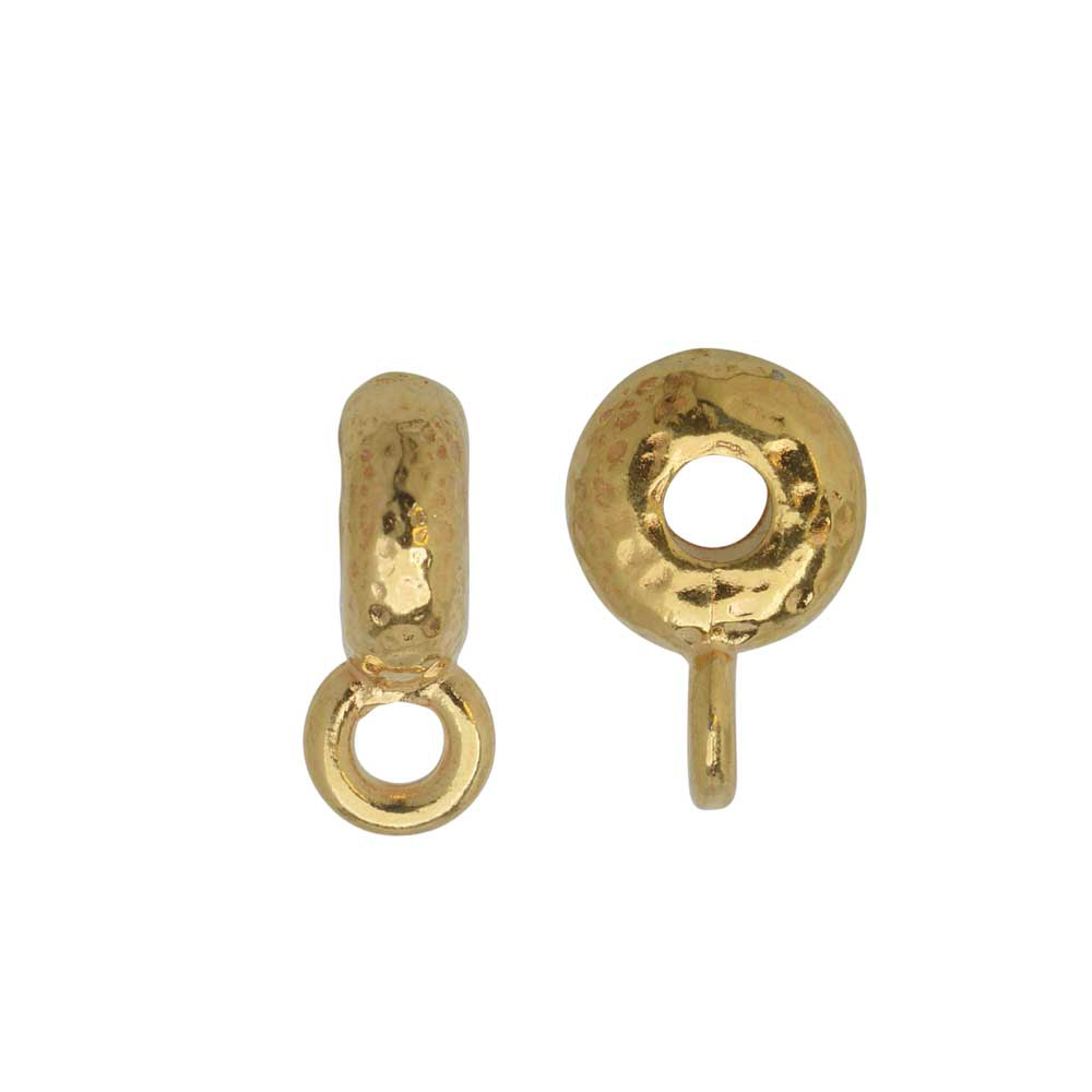 TierraCast Spacer Bail, Hammered with Loop 3x12mm, 2 Pieces, Bright Gold Plated