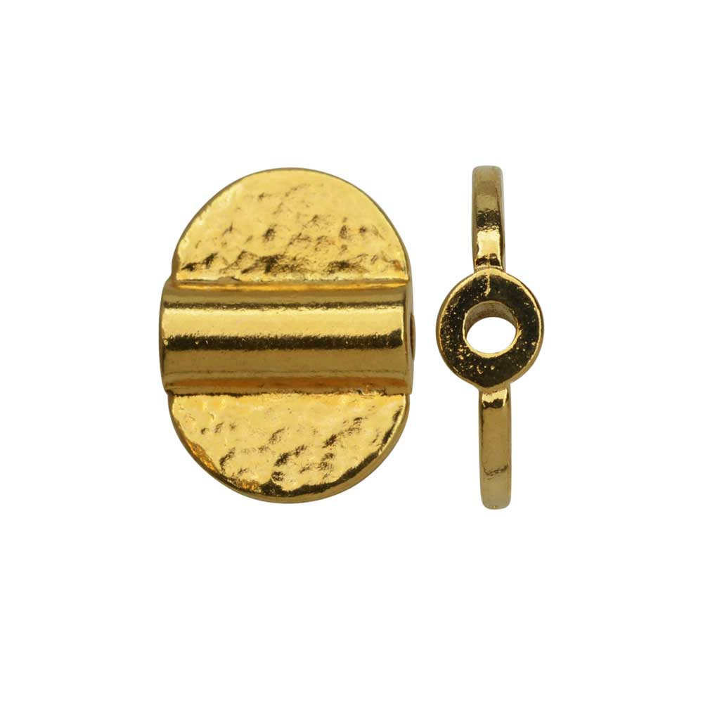 TierraCast Baule Bead, Dual Hammered Half Circles 10x14mm, 2 Pieces, Bright Gold Plated