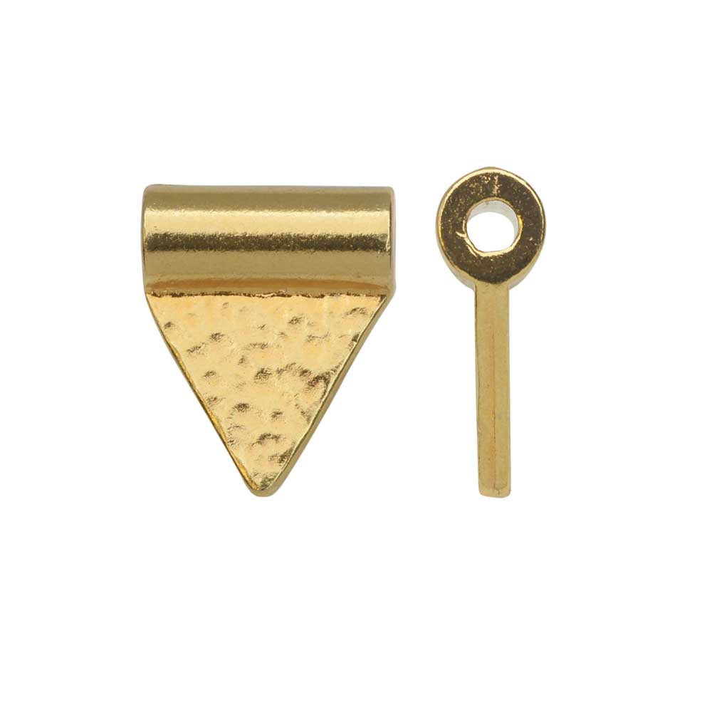 TierraCast Baule Bead, Hammered Triangle Flag 10x13mm, 2 Pieces, Bright Gold Plated