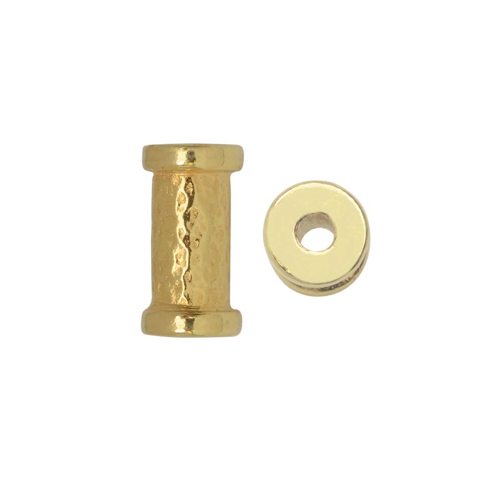 TierraCast Spacer Bead, Hammered Tube 5.5x10.8mm. 2 Pieces, Bright Gold Plated