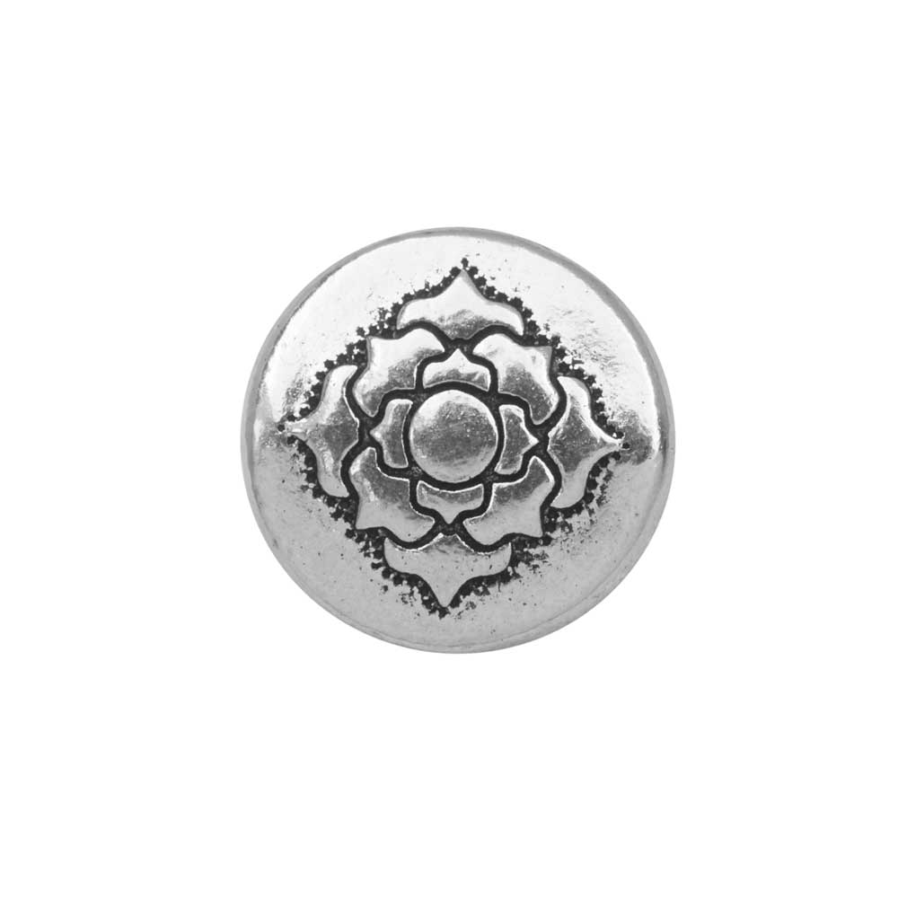 TierraCast Bead, Puffed Coin with Lotus Design 4x13.5mm, 2 Pieces, Antiqued Silver Plated
