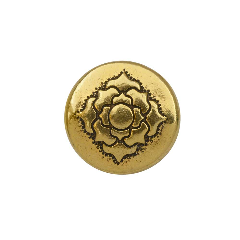 TierraCast Bead, Puffed Coin with Lotus Design 4x13.5mm, 2 Pieces, Antiqued Gold Plated