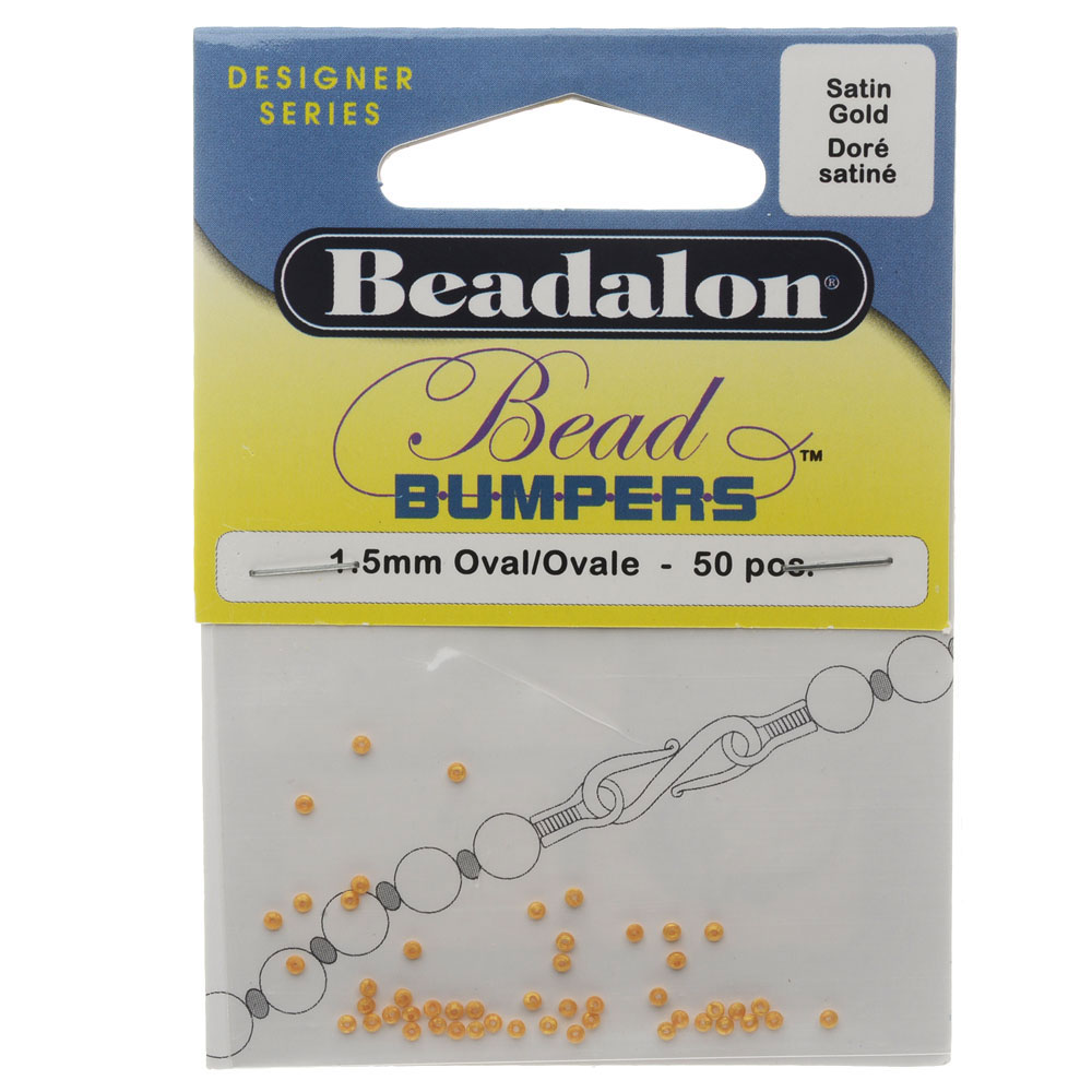 Beadalon Bead Bumpers, Oval Silicone Spacers 1.5mm, 50 Pieces, Satin Gold