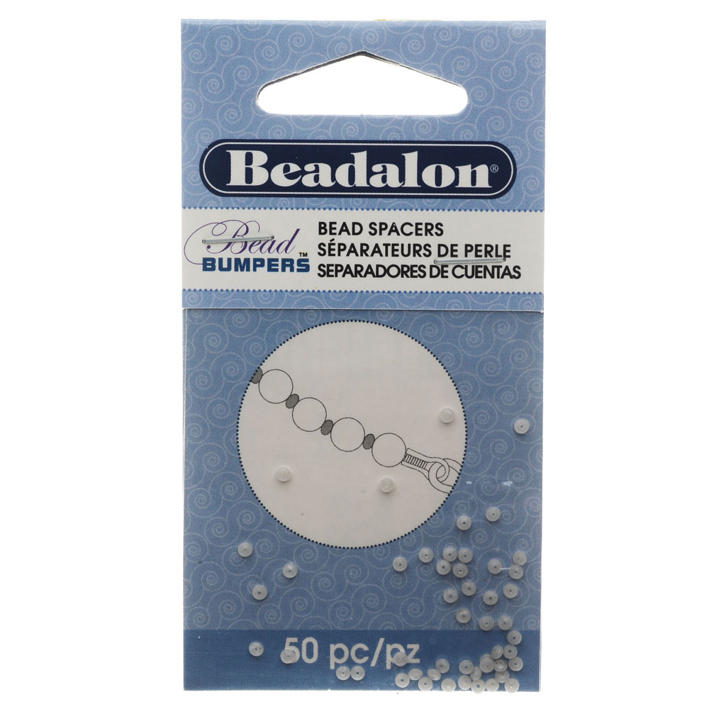 Beadalon Bead Bumpers, Oval Silicone Spacers 2mm, 50 Pieces, Silver