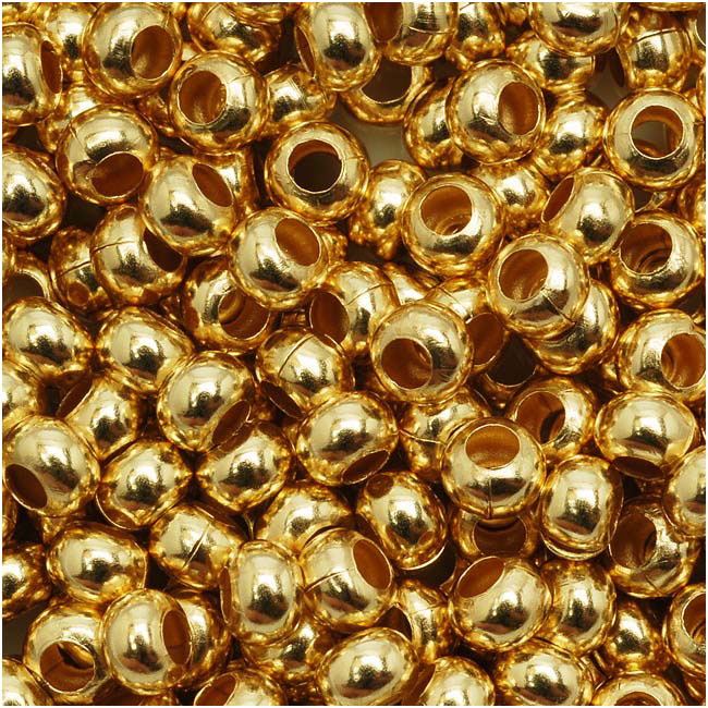 Genuine Metal Seed Beads 6/0 Gold Tone Gilding Metal 33 Grams