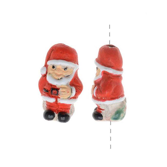 Painted Ceramic Bead - Mini Holiday Santa Claus 8.5x15mm (2)