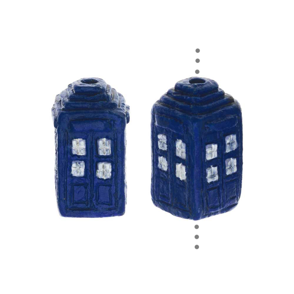 Hand Painted Ceramic Bead, Police Box 15.5x9mm, 2 Pieces, Blue