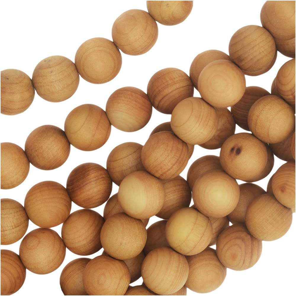 Smooth Aromatic Cedar Wood Beads, Round 8mm, 25 Pieces, Natural