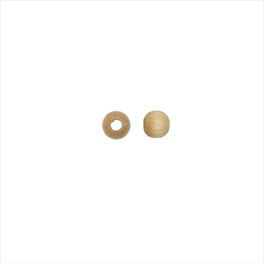EuroWood Natural Wood Beads, Round 4mm Diameter, 250 Pieces, Natural