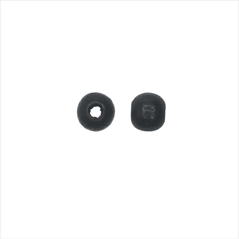 EuroWood Natural Wood Beads, Round 6mm Diameter, 200 Pieces, Black