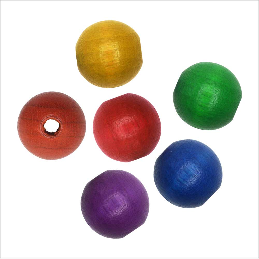 EuroWood Natural Wood Beads, Round 10mm Diameter, 50 Pieces, Multi-Colored