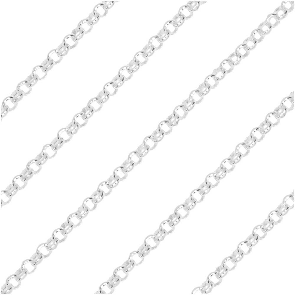 Sterling Silver Rolo Chain, 1.75mm, by the Foot