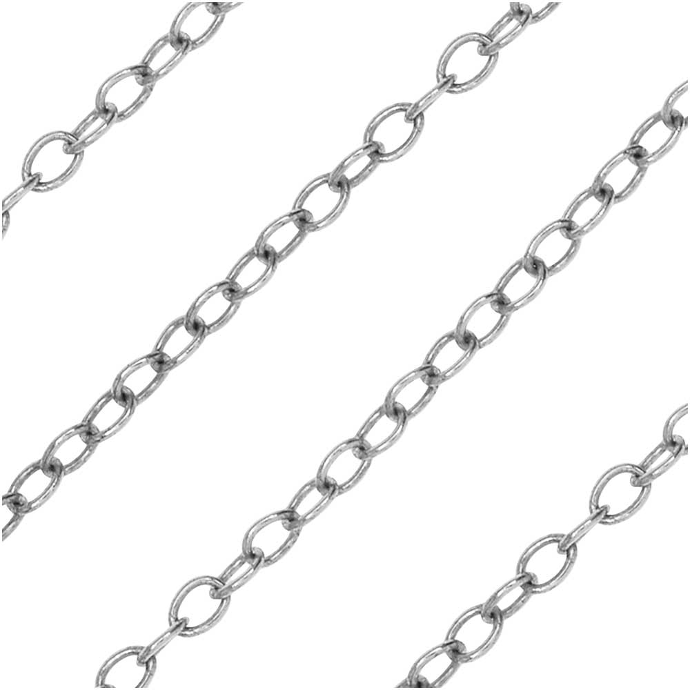 Antiqued Silver Plated Cable Chain, 2x2.5mm, by Nunn Design Chain, by the Foot