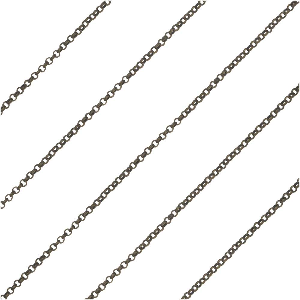Antiqued Brass Rolo Chain, 1mm, by the Foot