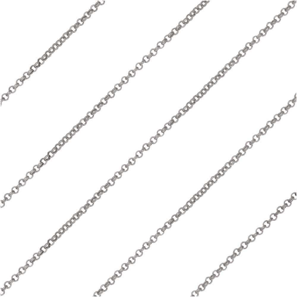 Antiqued Silver Plated Rolo Chain, 1mm, by the Foot