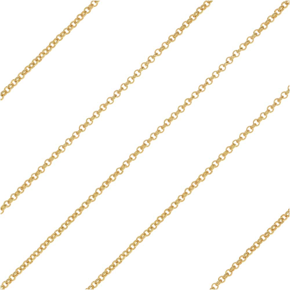 Gold Plated Rolo Chain, 1mm, by the Foot